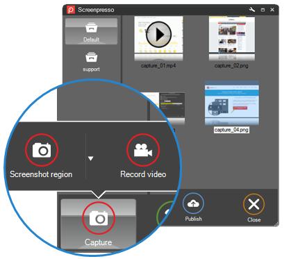 Screenshot of the Screenpresso interface