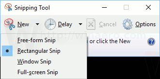 Screenshot of the Snipping Tool's interface